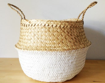 Dipped White Belly Basket Seagrass Panier Boule Large Medium Nursery Toy Storage Planter Market Tote Bag