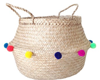Colourful Pom Pom Sea Grass Belly Basket Panier Boule Storage Nursery Beach Picnic Bag Toy