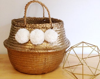 Pom Pom Gold White Seagrass Belly Basket Panier Boule Storage Nursery Beach Picnic Toy Laundry