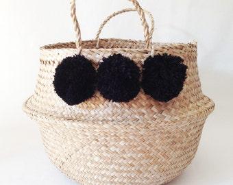 Pom Pom Seagrass Belly Basket Black Panier Boule Nursery Toy Home Storage Nursery Beach Market Tote Bag
