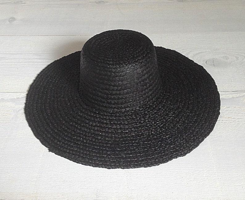 Black Straw Hat Boater Style Sun Hat Chapeau de Paille Strohhut
