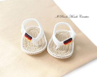 Crochet Baby Booties, Crochet Baby Flip Flops, Crochet Baby Sandals, Patriotic Baby Shoes,  Flag of Germany, Baby Shower Gift