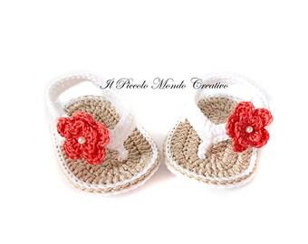 Crochet Baby Booties, Crochet Baby Flip Flops, Crochet Baby Sandals, Baby Shower Gift, size newborn 0 months