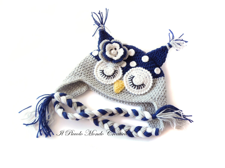 Cute Owl Hat with Sleepy Eyes Made to ORDER Handmade Crochet | Etsy