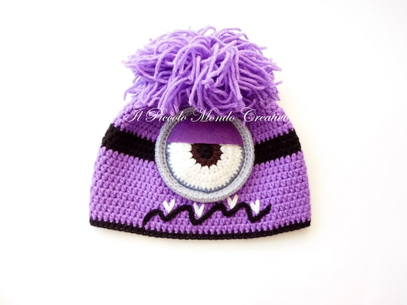 Evil Minion Hat Purple Minion Hat Crochet Minion Hat Etsy