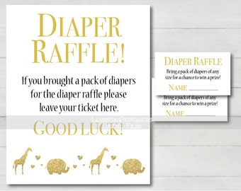 diaper raffle ticket gold baby shower baby shower safari diaper raffle sign diaper raffle printable baby shower games elephant bs06