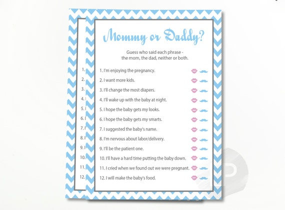Geliefde Mommy or Daddy Baby Shower Quiz He Said She Said baby shower | Etsy @EQ14