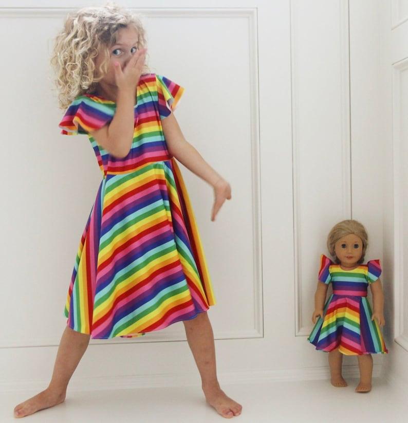 5648926c5 Rainbow Dress Rainbow Twirl Dress Birthday party Girls | Etsy