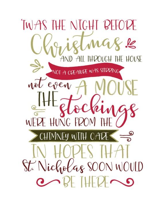 Twas The Night Before Christmas Digital Printable Digital Etsy