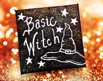 Glow In The Dark, Basic Witch Painting, acrylic on 7 cm x 7 cm canvas, Witchy Decor Gifts, Miniature Witch Art, Halloween Home