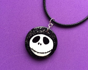 Nightmare Before Christmas Inspired Jack Skellington Necklace, Spooky Gothic Jewellery, Halloween Gifts