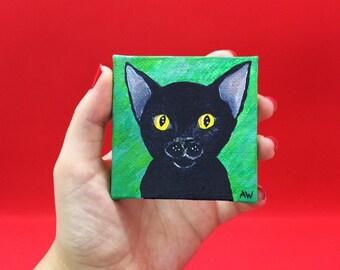 Little Black Kitten mini art painting, acrylic on 7 cm x 7 cm canvas / Cat Mini Art, pocket sized gift, Birthday Gift Idea