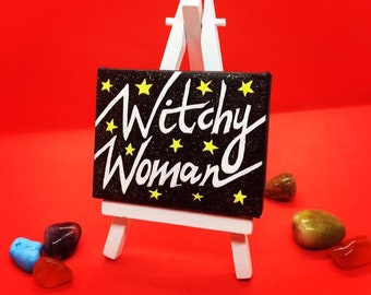 Glow In The Dark, Witchy Woman Canvas, acrylic on 9 cm x 7 cm canvas, Witchy Decor Gifts, Halloween Home Decor