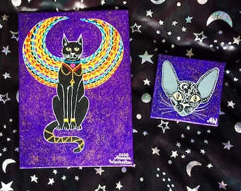 Egyptian Sphinx Cat Paintings Gift Set for Cat Lovers, Wall Art, Birthday Gift Idea, Wiccan Witchy Gifts, Halloween Home Decor