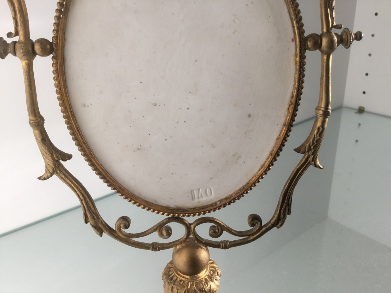 Antique Ormolu Bronze Brass French Porcelain Portrait