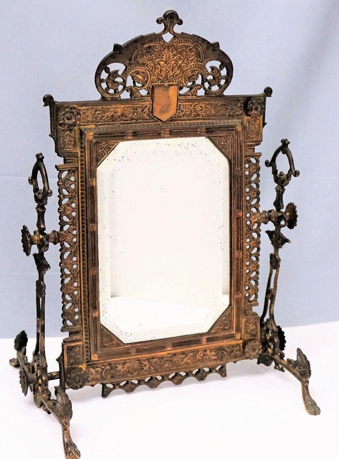 1800's Antique Victorian Brass Eastlake Cheval Vanity Mirror Aesthetic  Movement - 1800's Antique Victorian Brass Eastlake Cheval Vanity Mirror