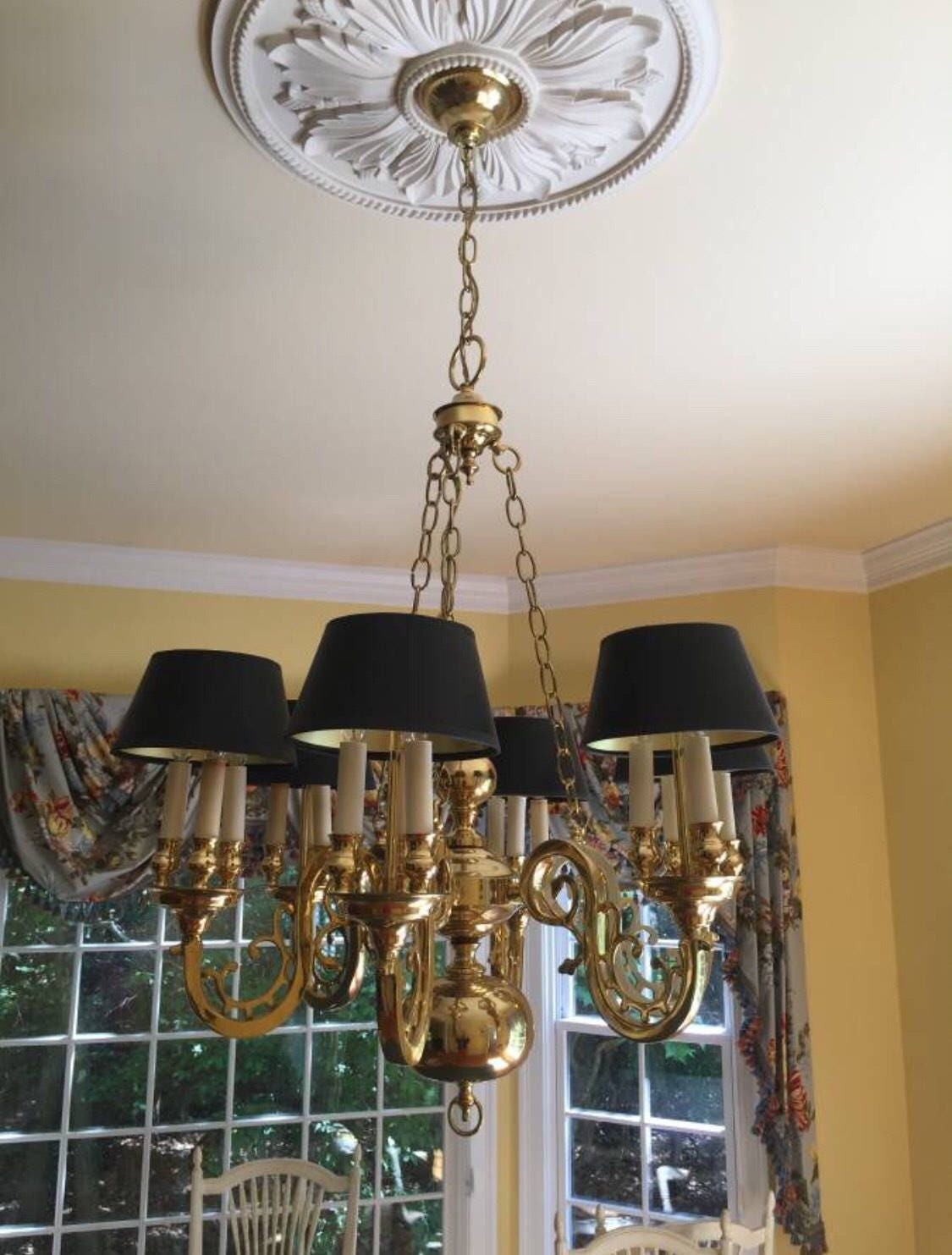 Statley brass bouillotte chandelier colonial williamsburg style aloadofball Image collections