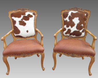 Cowhide Chairs Hair On Hide Accent Fire Side Chair PAIR Carved Ornate Arm  Chair