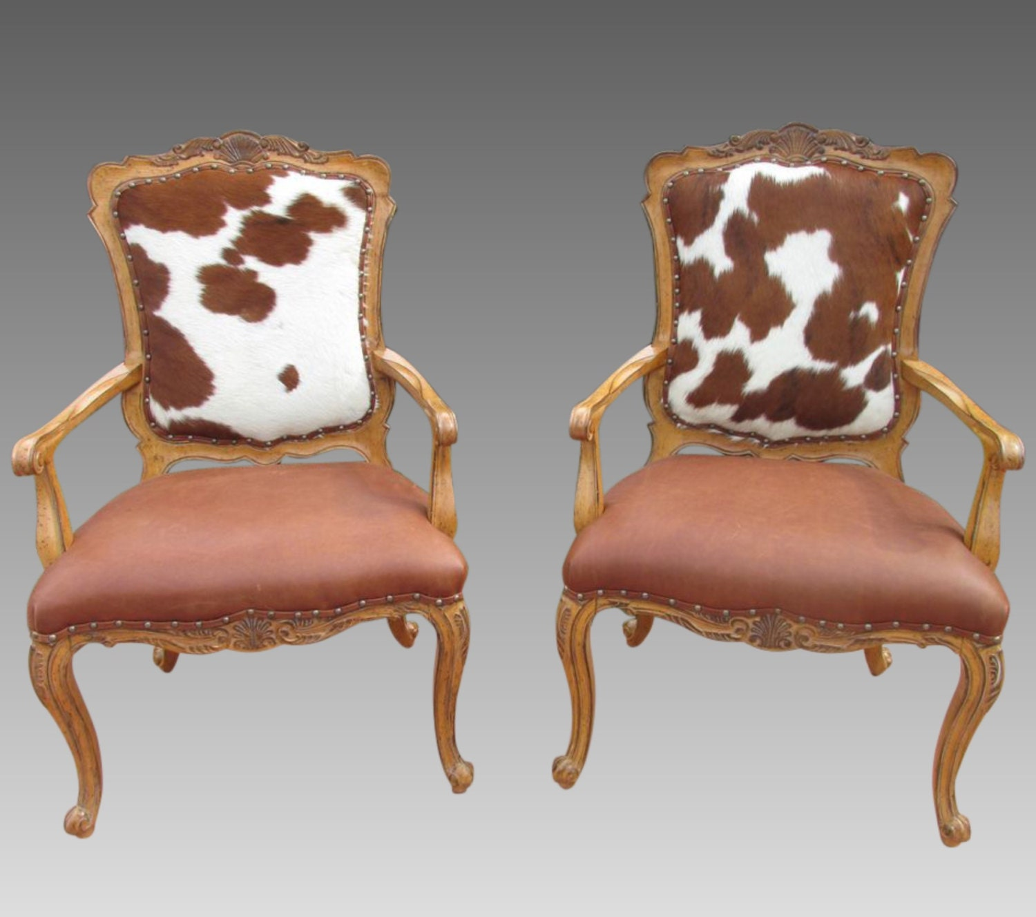 Cowhide Chairs Hair On Hide Accent Fire Side Chair Pair