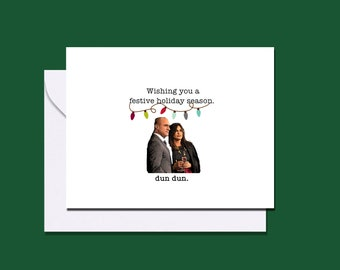 Law and Order Benson and Stabler inspired holiday card / Law & Order SVU / Mariska Hargitay and Christopher Meloni / Christmas card