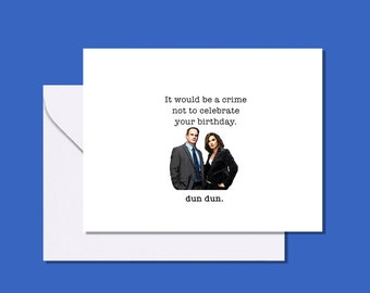Law and Order Benson and Stabler inspired birthday card / Law & Order SVU / Mariska Hargitay and Christopher Meloni