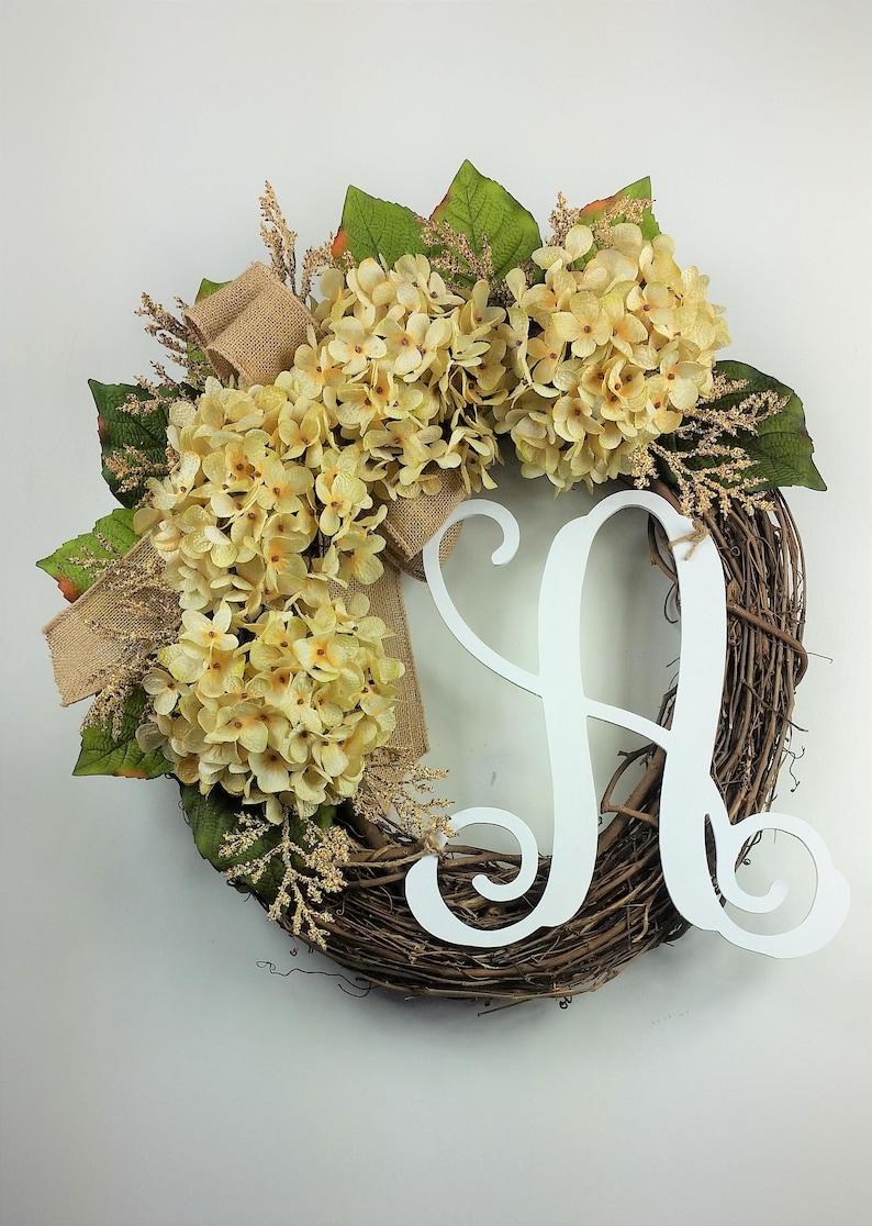 Hydrangea wreath Spring wreath Farmhouse wreath Everyday wreath Fall wreath Easter wreath Rustic wreath Summer wreath Monogram