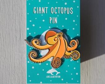 Octopus Enamel Pin, Enamel Pin, Octopus, Silver Enamel Pin, Enamel Badge, Sea Lover Gifts, Accessories, Jewellery, Christmas Stockings