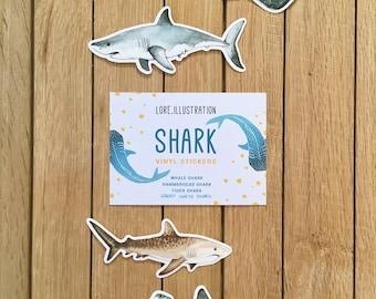 Shark Stickers, Vinyl Stickers, Sharks, Ocean Life, Plastic Free Packaging, Sticker Set, Cartoon Style Sharks, 4 Stickers Pack