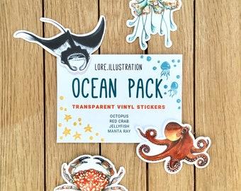 Ocean Stickers, Transparent Stickers, Vinyl Stickers, Plastic free packaging, 4 Ocean Stickers pack, Manta Ray, Octopus, Crab, Jellyfish