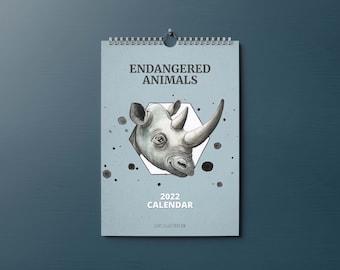 2022 Calendar, Endangered Animals Calendar, A4 size Wall Calendar, Animals Calendar, Kids Room Wall Calendar, Kids Room Art, Christmas Gift