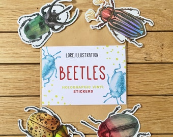 Beetle Stickers, Holographic Stickers, Halloween Stickers, Sticker Bugs, Coleoptera, Vinyl Stickers, Plastic Free Packaging, LAST UNITS SALE