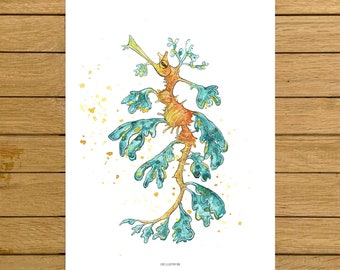 Leafy Sea Dragon, Ocean Print, Animal Painting, Giclée quality Print, Watercolor Illustration, Home Decor, Nursery Decor, Kids Room Decor