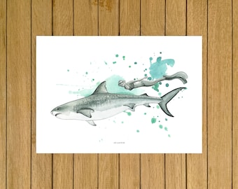 """Shark & Swimmer, Tiger Shark, Ocean, Giclée Print, Nursery Decor, Artwork, Home Decor, Kids Room, 13""""x19"""",A3, 8.5""""x11"""", A4, A5"""