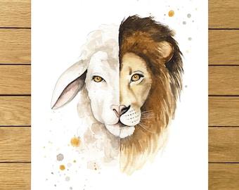 The Lion and The Lamb, Art Print, Watercolor Illustration, Giclée Print, Religious Art, Home Decor, Animals Wall Decor, Wall Art Decor
