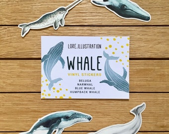 Whale Stickers, Transparent Stickers, Vinyl Stickers Set, Whales, Ocean life, Plastic free packaging, 4 Stickers pack, Christmas Stockings