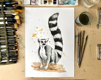 Lemur Watercolour Painting, Original Art, A3 size Painting, Art Gift, Home Decor, Jungle House Art Decor, Art Sale
