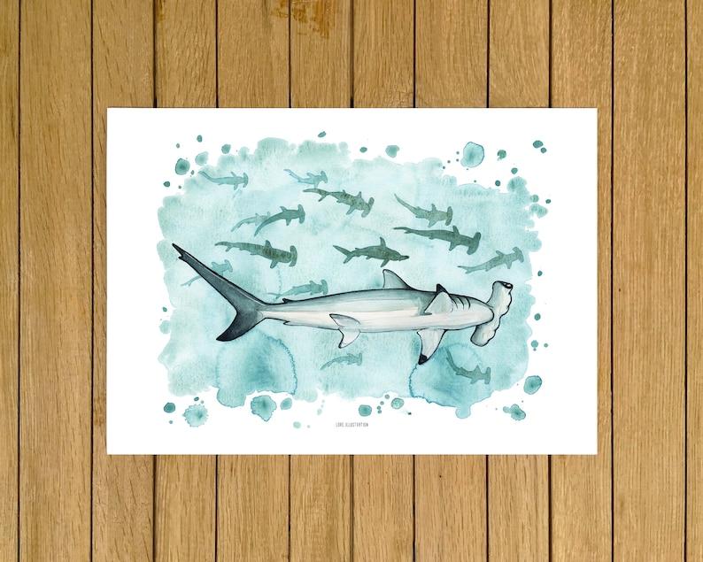 White Home Decor Sharks Wall Art Home Decor Watercolour Illustration Kids Room Nursery Decor Hammerhead Sharks Print Gicl\u00e9e Print
