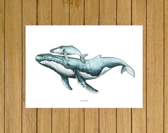 Mum & Baby Whale Print, Humpback Whale Art Print, Watercolor Illustration, Giclée Print, Home Decor, Ocean Wall Decor, Nursery Wall Decor