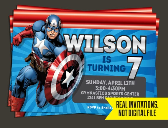 captain america invitation captain america birthday