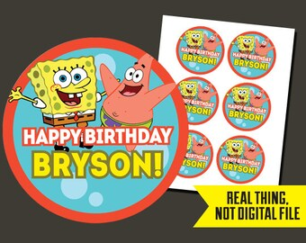 Spongebob Stickers - Spongebob Birthday - Sponge BobPrinted