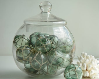 Green Vintage Japanese Fishing Floats with netting