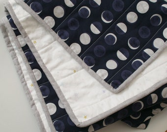 moon and stars baby quilt, modern baby quilt, modern crib quilt, handmade baby quilt, moon and stars crib quilt, night sky quilt