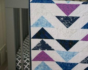 modern baby quilt, modern kids bedding, handmade quilt, made to order quilt, modern toddler quilt, modern quilt, triangle quilt