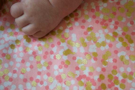 Gold Rosa Baby Bettwasche Koralle Gold Baby Blatt Rosa Gold Etsy