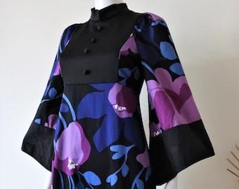 Finnish Vintage Heikkilä popdelic floral cotton maxi dress mandarin collar bib front kimono sleeves empire waist 1970s 70s made in Finland
