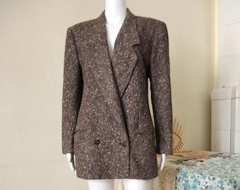 Vintage Cerruti 1881 double breasted herringbone tweed wool blazer made in Italy