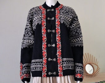 Vintage Evebofoss Norwegian folklore wool knit cardigan with ornamental metal clasps and embroidered trims 1970s 70s