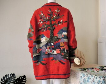 M  Wool  Bohemian Classic Folk Austrian Wool Jacket Hand Knitted and embroidered Artsy Crafts work  Sirogojno Embroidered Cardigan  XS