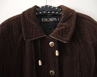 c6b94b5f302b SALE   Vintage Escada by Margaretha Ley oversized chocolate brown quilted velvet  coat parka transitional jacket 1980s made in Germany   SALE