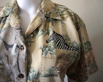 54ca40579d3e Vintage safari shirt blouse African wildlife print 1970s 1980s